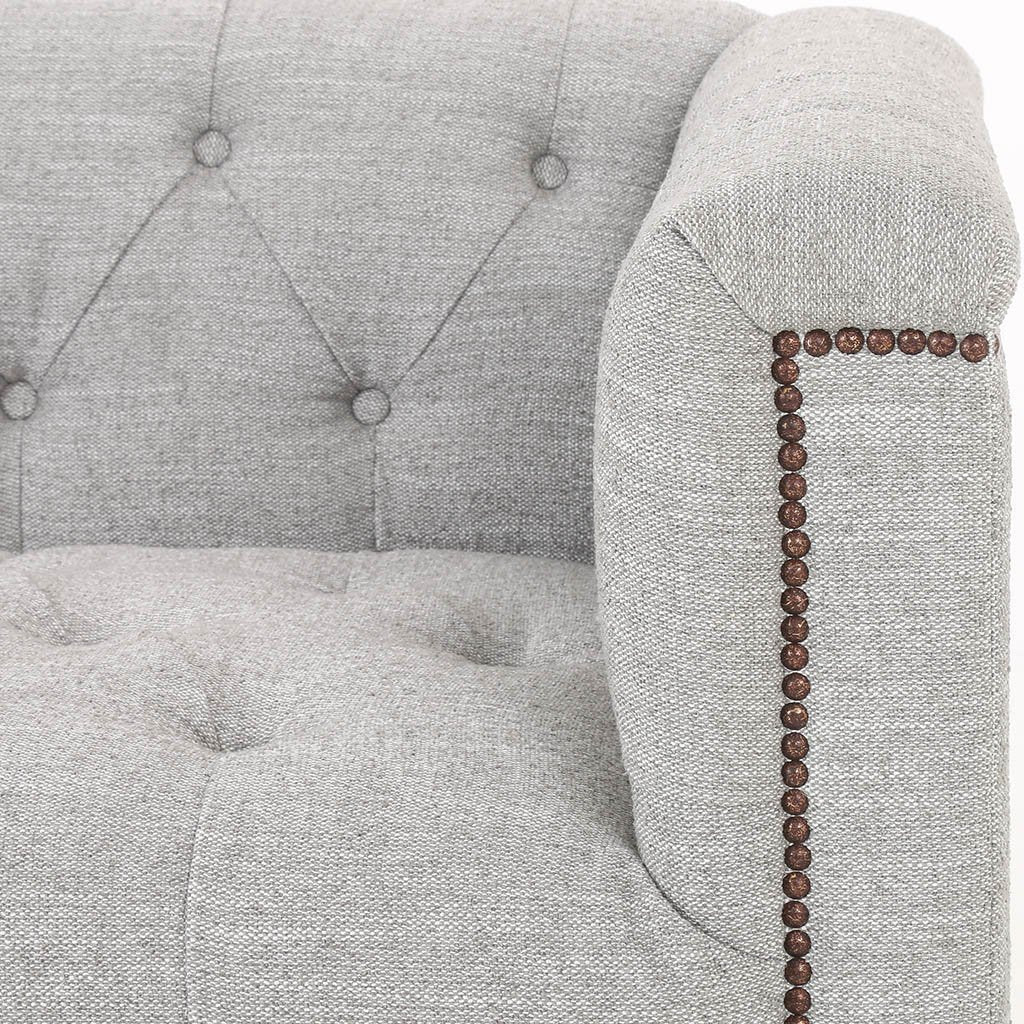 tufted library style sofa grey