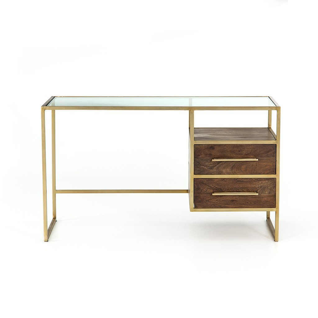 Riverside Desk - Aged Brass