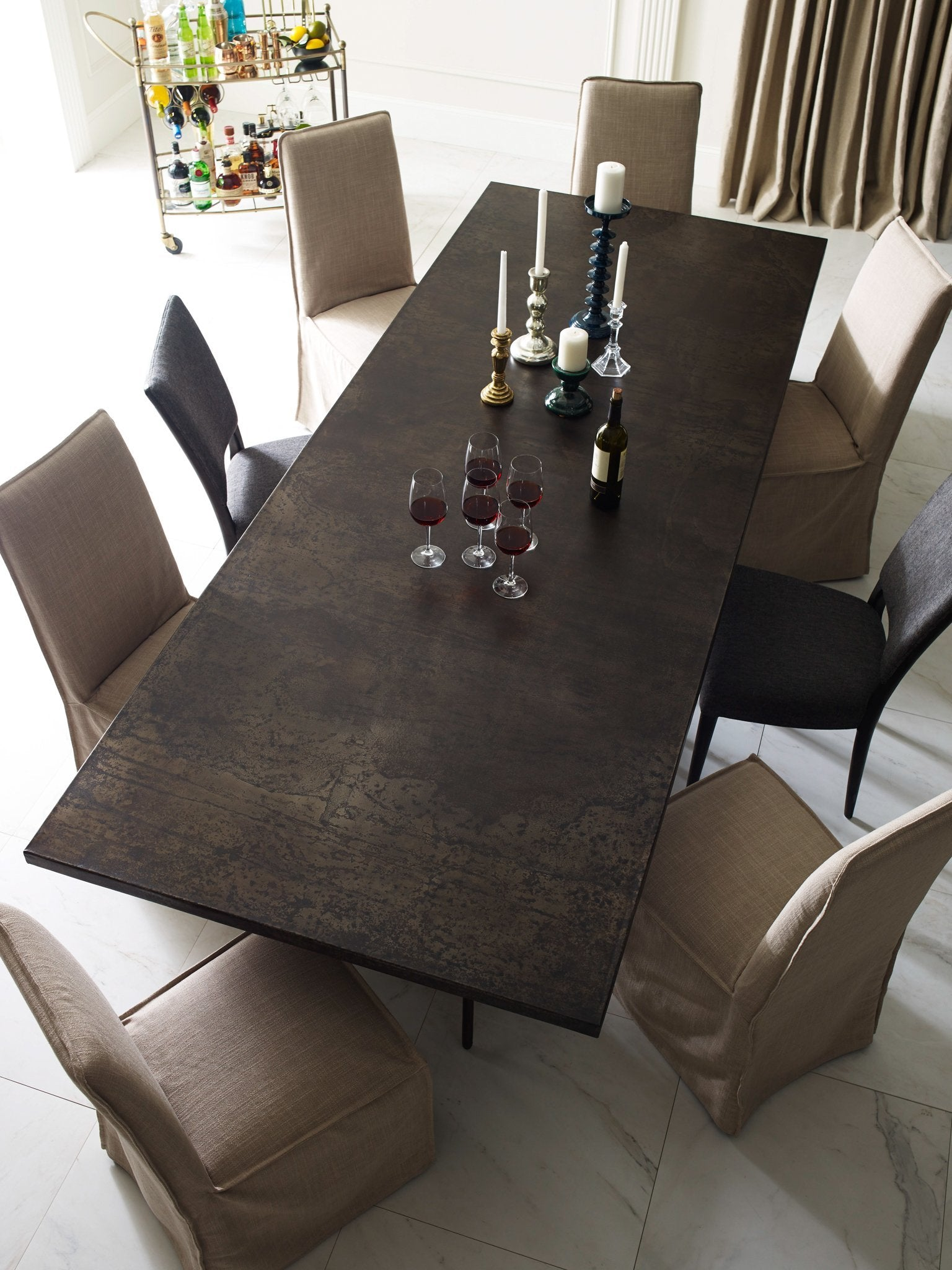 Oxidized Iron Dining Table Roman Dining Table