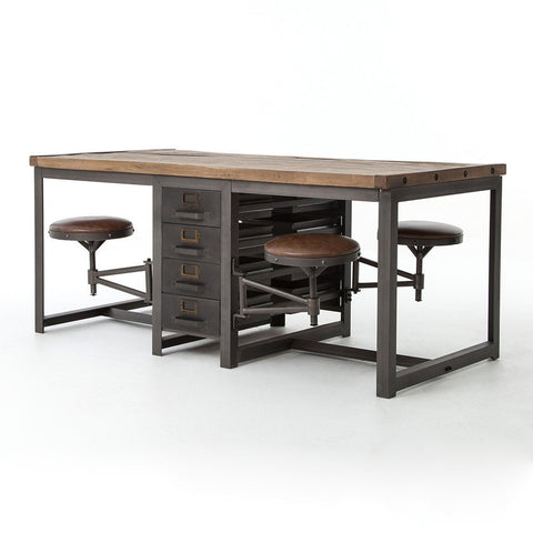 Trey Desk System with Filing Cabinet - Auburn Poplar