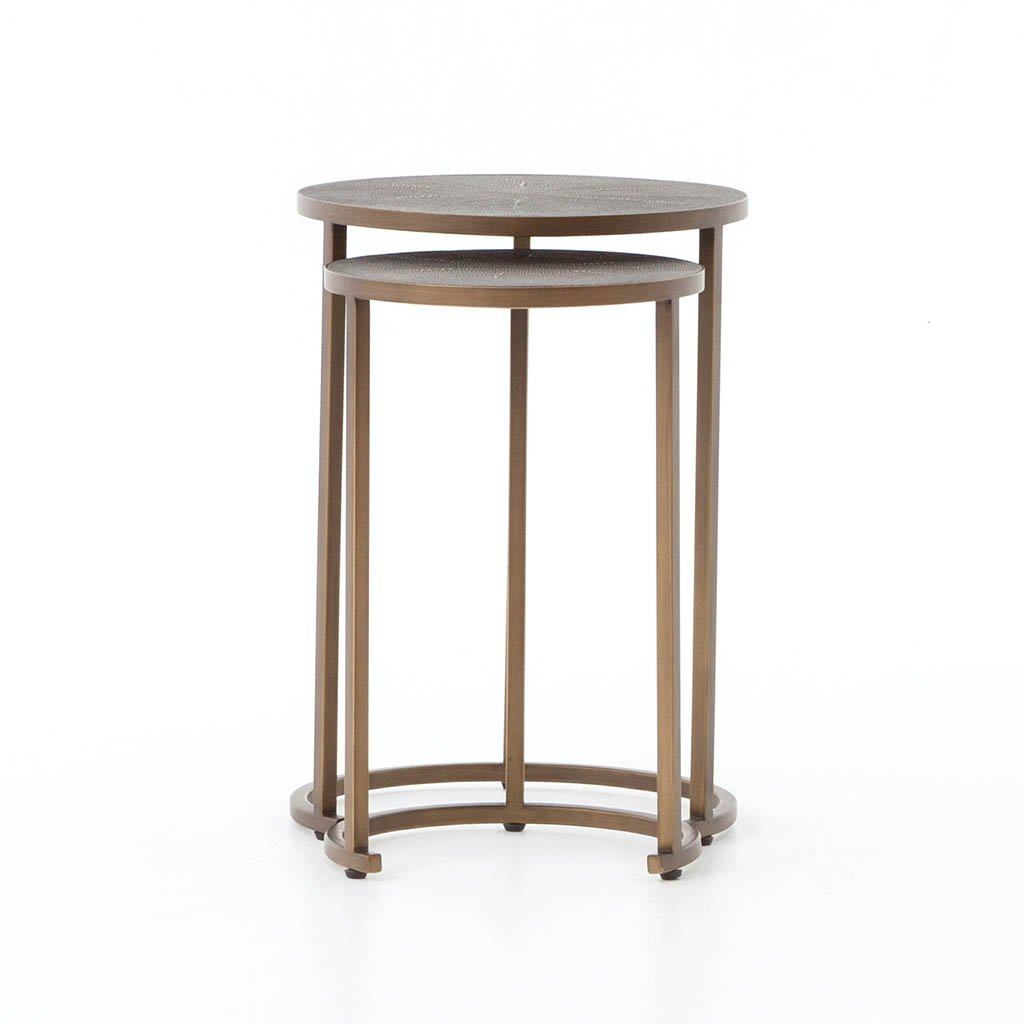 Four hands Shagreen Nesting Table - Antique Brass
