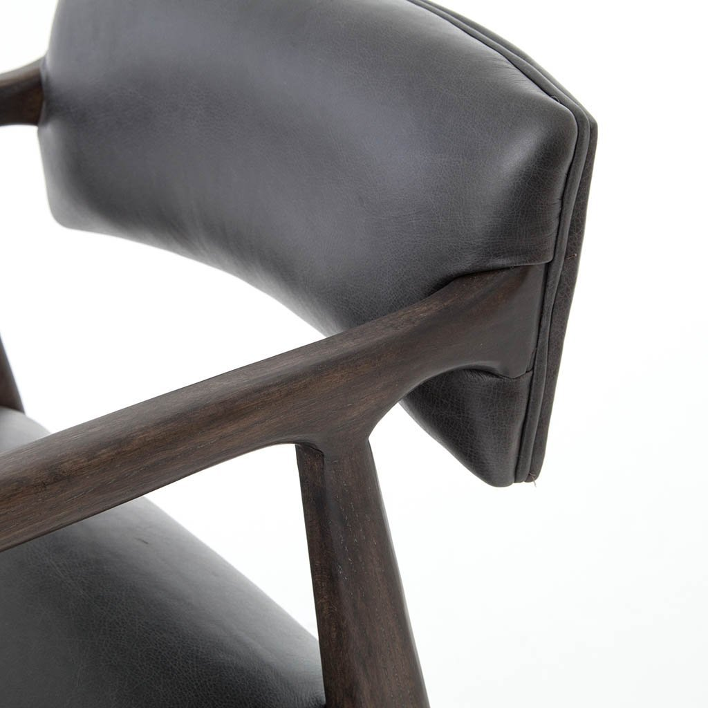 black leather barstool low back