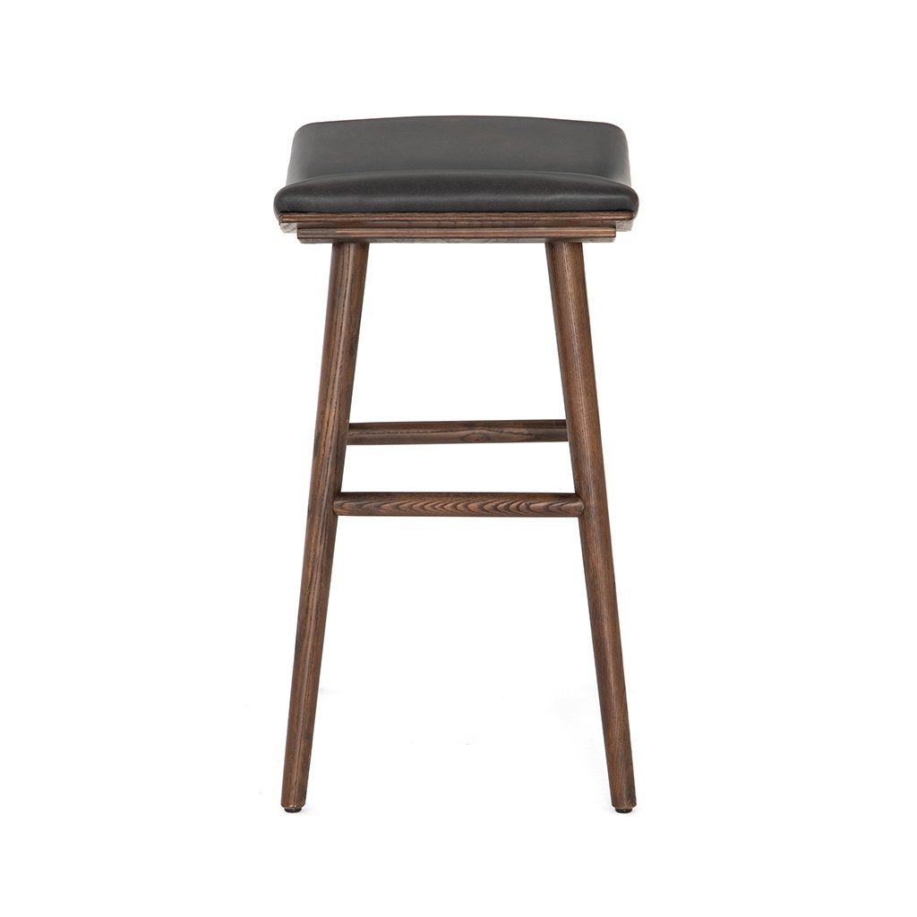 Modern Union backless black leather stool