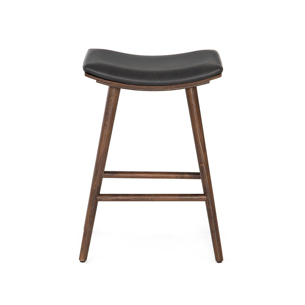 black faux leather barstool