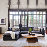 Charcoal sectional sofa with ottoman