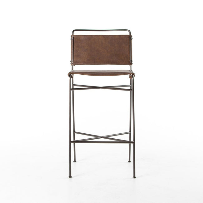 Four Hands Furniture Wharton Bar Chair - Distressed Brown