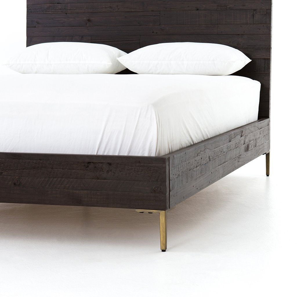 dark wood contemporary bed