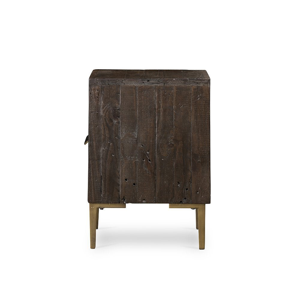 Wyeth Dark distressed and rustic nightstand
