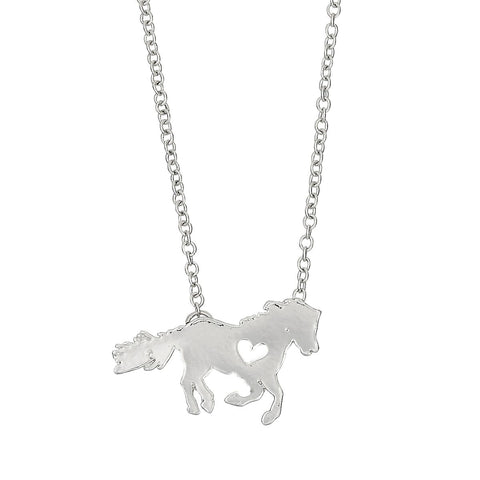 Pony with Heart Silver Colored Necklace