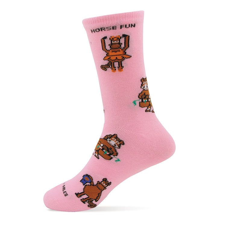 Horse Fun Pink Youth Socks Made in USA
