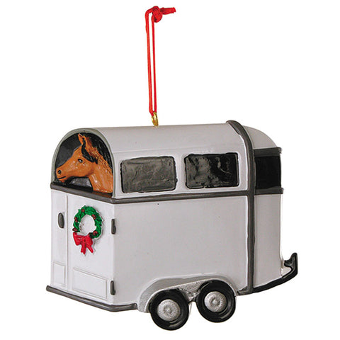 White Horse Trailer with Brown Horse Christmas Ornament