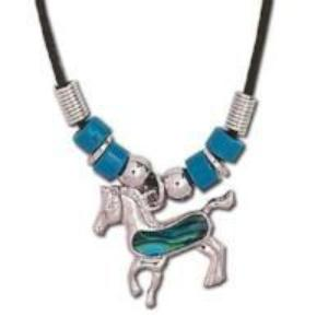 Girls Blue Paua Shell Horse Necklace