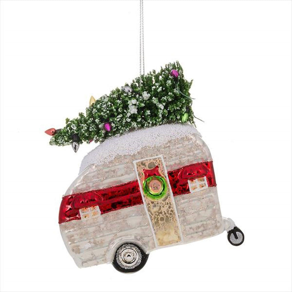 Adorable Sparkly Glass Camper Ornament with Christmas Tree