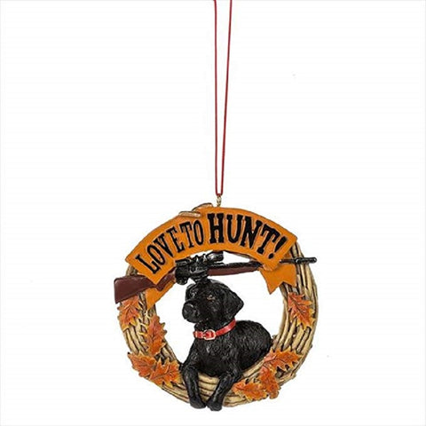 Love to Hunt! Black Lab Dog Hunting Christmas Ornament