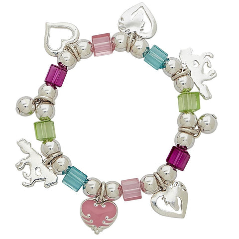 Multicolor Hearts Horse Charm Stretch Bracelet