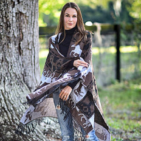 """Lila"" Brown Southwestern Cape"