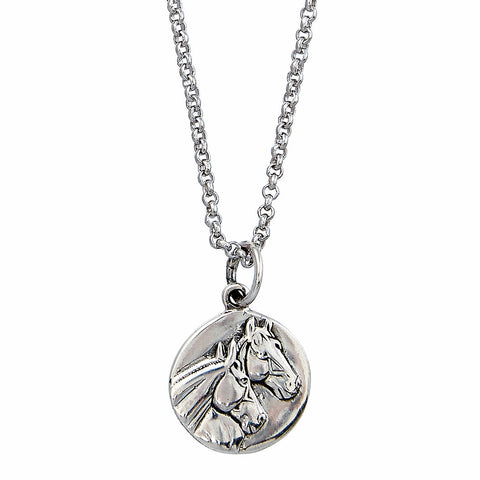 Sterling Silver Round Horse Head Pendant Necklace