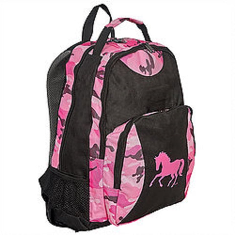 Pink Black Camo Galloping Horse Backpack Girl Youth School Bag