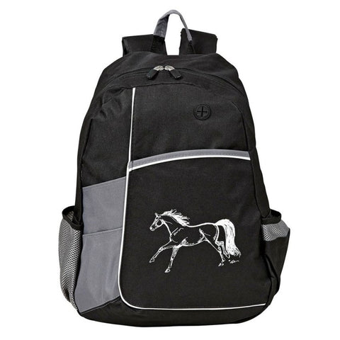 Black Gray Running Horse Metro Backpack Unisex School Bag