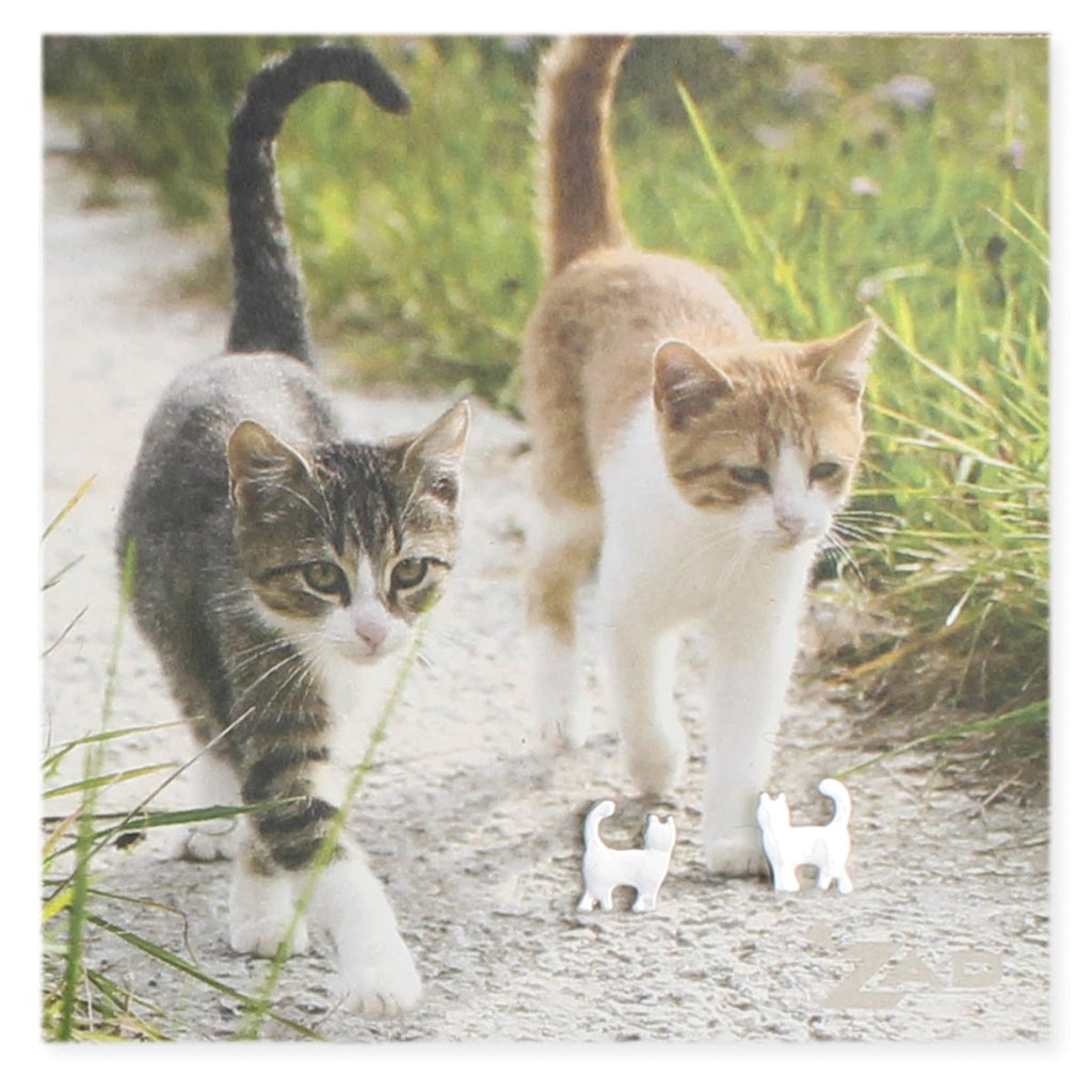 Silver Colored Standing Cat Post Earrings