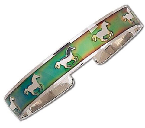Galloping Horses Mood Bangle Bracelet
