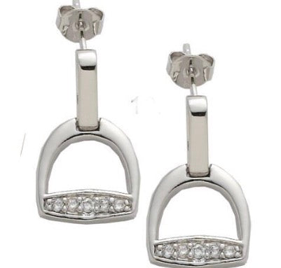 Stirrup Post Earrings with CZ