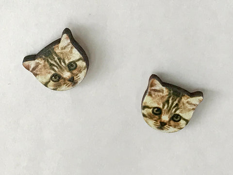 Laser Cut Wood Tabby Cat Face Post Earrings
