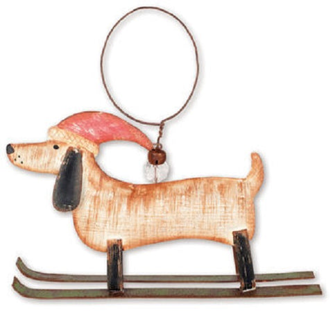 Dachshund on Skis Christmas Dog Ornament