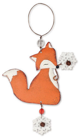 Tin Fox Christmas Ornament or Wall Hanging