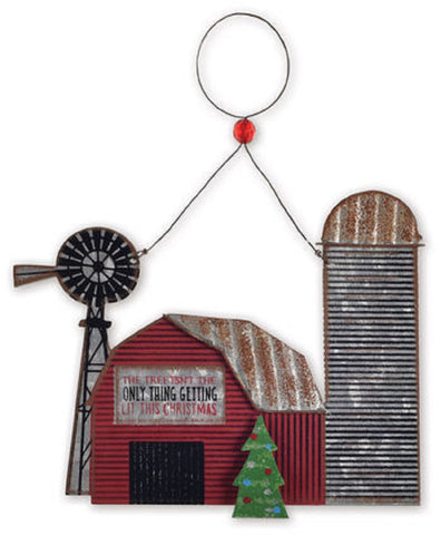Tin Horse Barn Christmas Ornament or Wall Hanging
