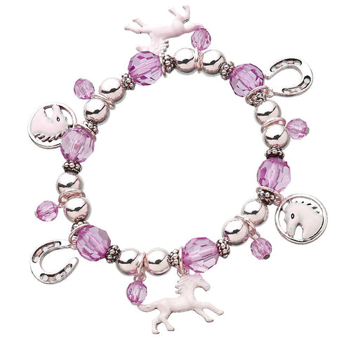 Horse Stretch Charm Bracelet Pink, Purple Choice