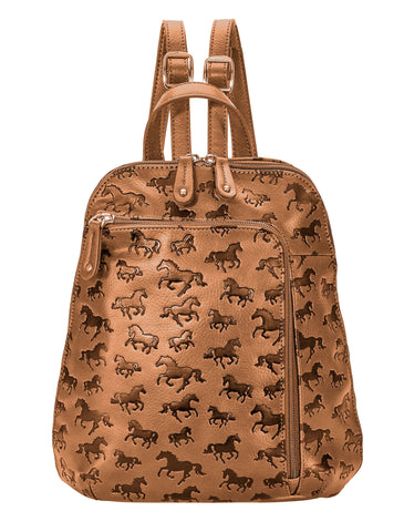 """Lila"" Debossed Horses Backpack Tan"