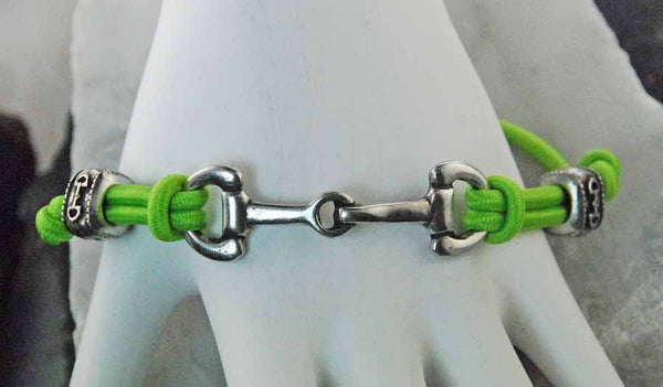 Barbary Lime Green Adjustable Elastic Snaffle Bit Bungee Bracelet