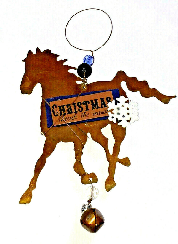 Chestnut Brown Tin Horse Christmas Ornament or Wall hanging Snowflake