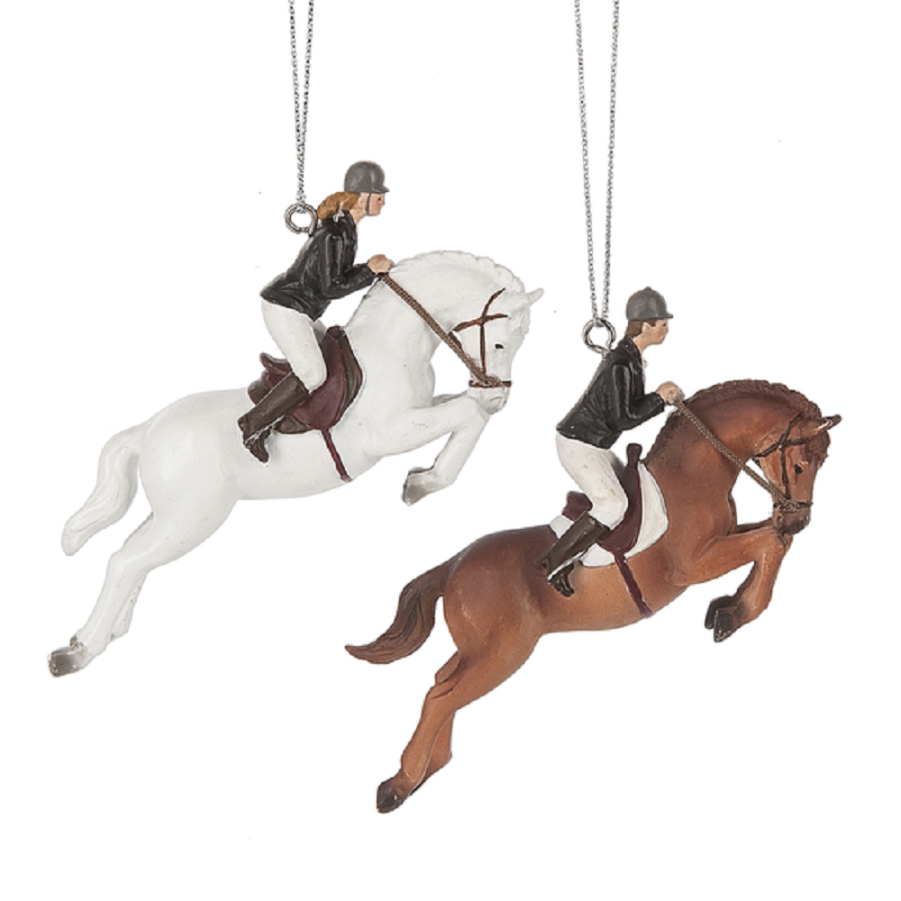 Hunter Jumper Horse and Rider Christmas Ornament Brown or Grey