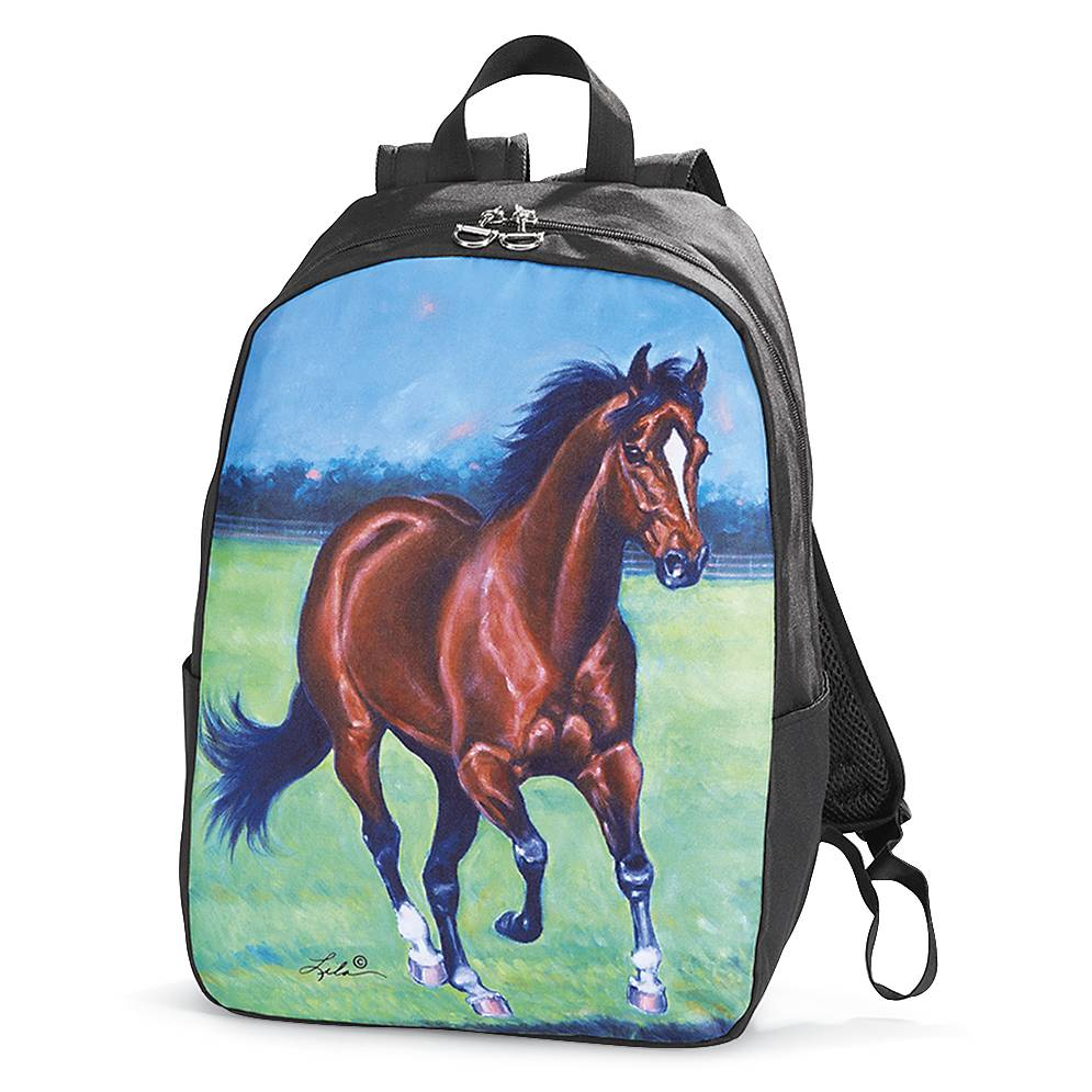 Galloping Bay Horse Backpack with D-ring Zipper Pulls Unisex School Bag
