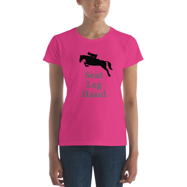 Women's SEAT LEG HAND jumping horse short sleeve t-shirt