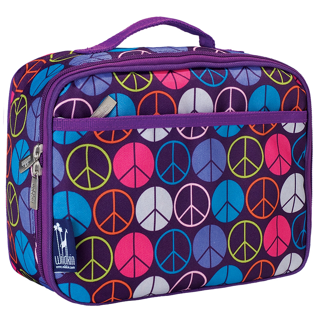Wildkin Purple Peace Signs Lunch Box