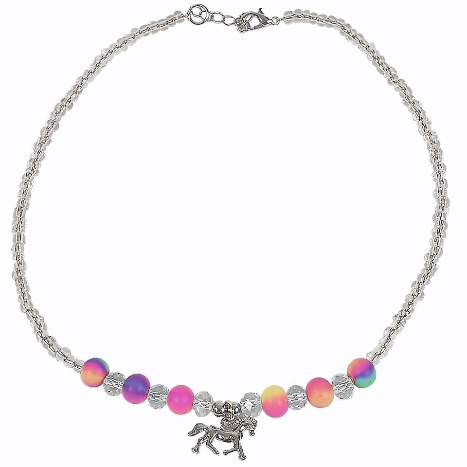 Girls Neon Rainbow Necklace with Horse Charm