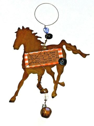 Chestnut Brown Tin Horse Christmas Ornament or Wall hanging Buttons