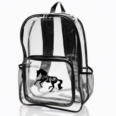 Live 2 Ride Clear Horse Backpack
