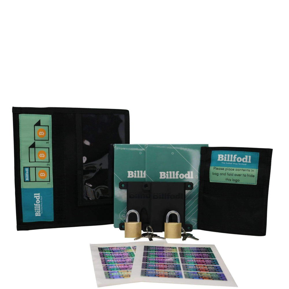 Billfodl - 'Keep It Secret' Double Pack (2 Billfodls, 2 Small Faraday Bags, 1 Large Faraday Bag, 2 Fodl Hodlers, 2 Locks, 2 Sticker Sets)
