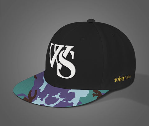 Camo Purple Green/Black Snapback