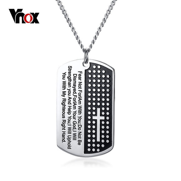 Vnox Bible Verse Pendant Necklace for Men Stainless Steel Cross Necklace Male Christian Prayer Jewelry Free Chain 24
