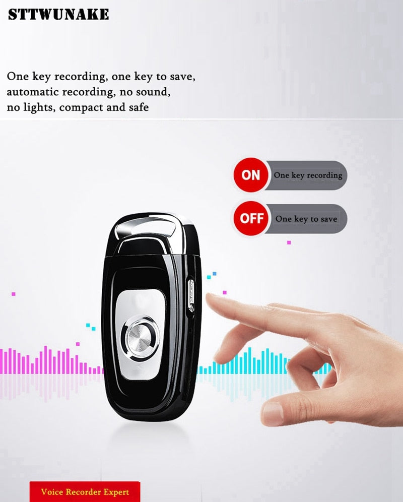 Mini key hidden voice recorder with voice reduction