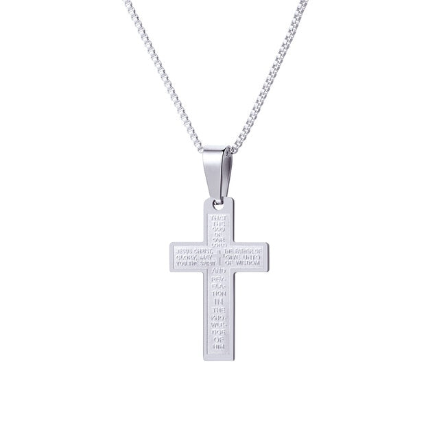 U7 Lord's Prayer Cross Pendants Necklaces Big/Small Size Christian Men Jewelry Gold/Silver/Black Color Necklace P1160