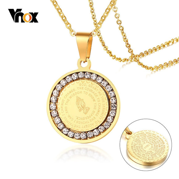 Vnox Double Sides Wear Bible Verse Prayer Necklace For Women Men Coin Pendant Christian Praying Hands Stainless Steel Jewelry