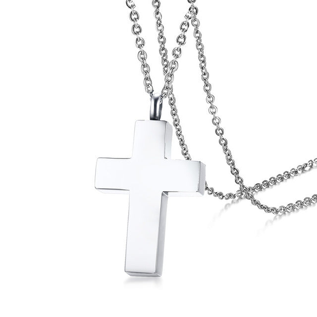Vnox Stainless Steel Christian Cross Necklace Openable Cremation Urn Ash Pendants Necklaces Memorial Keepsake Prayer Jewelry