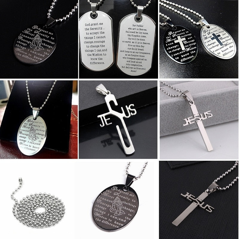 Wholesale lots 50pcs steel Lord's and the serenity prayer pendant chain necklace choker men jewelry