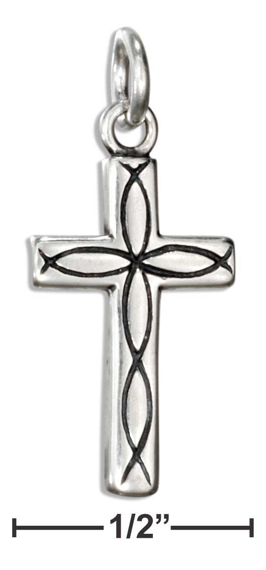 Sterling Silver Cross Charm with Christian Fish Pattern